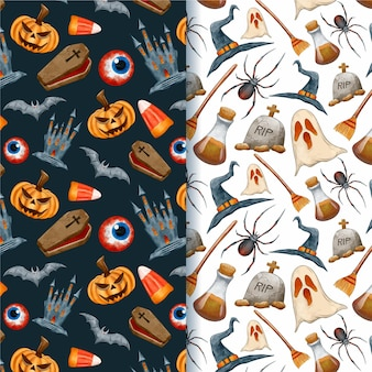 Watercolour halloween spooky creatures patterns