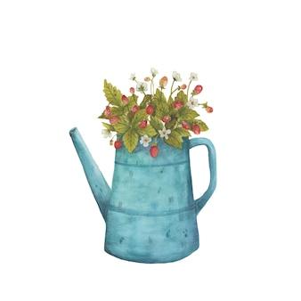 水彩の手描きの花瓶に花の花束