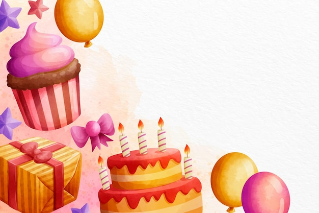Watercolour happy birthday copy space