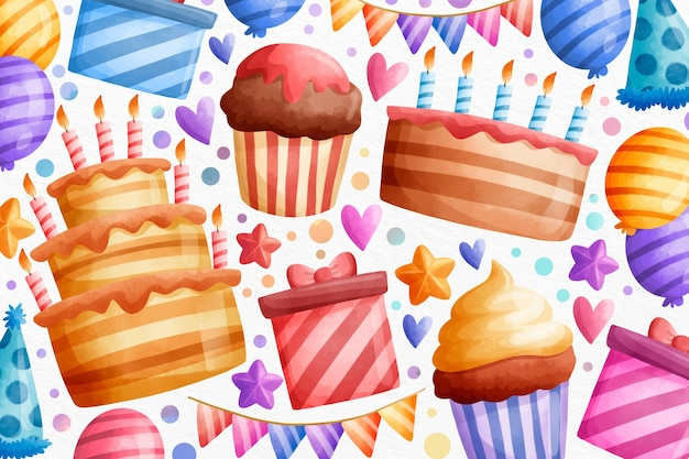 Watercolour happy birthday cupcakes and gifts
