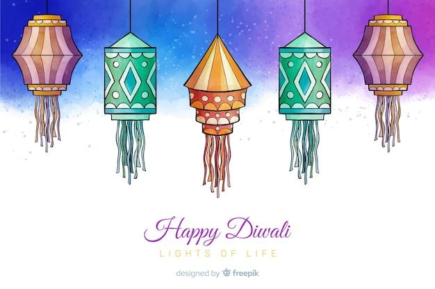 Watercolour happy diwali background
