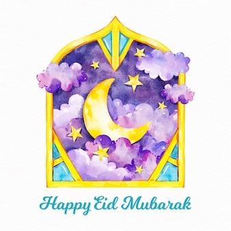 Watercolour happy eid mubarak and golden moon