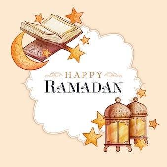 Watercolour happy ramadan and night stars