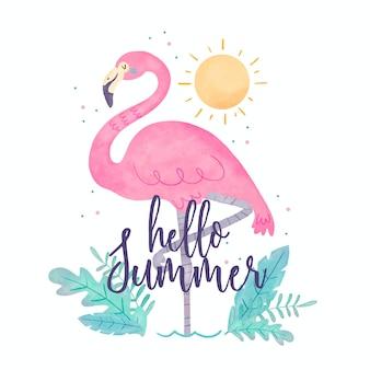 水彩こんにちは夏とフラミンゴ