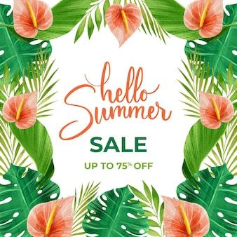 Акварель привет летняя распродажа и цветы
