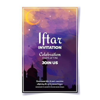 Watercolour iftar indian invitation template