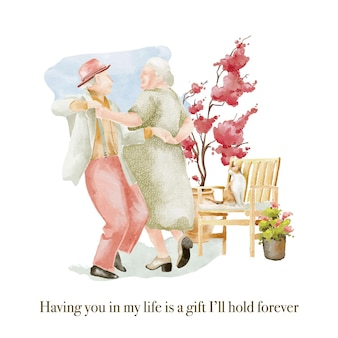 Watercolour illustration of dancing seniors couple in the garden