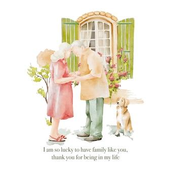 Акварельные иллюстрации влюбленной пары пожилых людей у окна