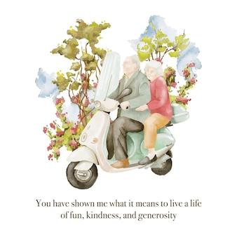 Акварельные иллюстрации пары пожилых людей на ретро-мотоцикле