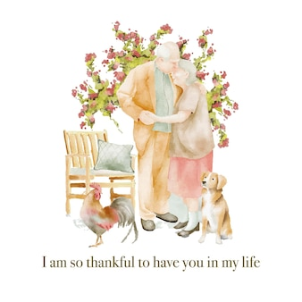 Watercolour illustration of seniors couple in love in the garden with dog and rooster