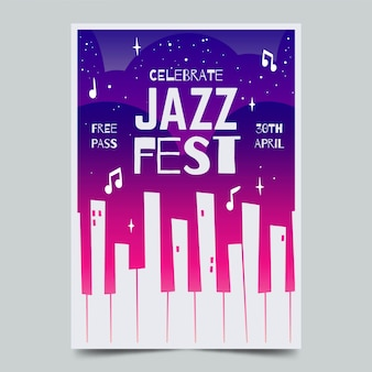 Watercolour international jazz day flyer template