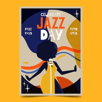 Watercolour international jazz day poster template