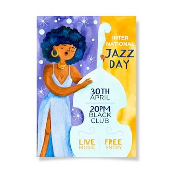 Watercolour international jazz day and woman at cello