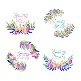 Watercolour label collection with gradient leaves