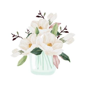 Акварель магнолия цветущий цветок филиал букет в стеклянной вазе клипарт