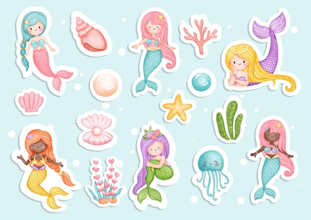 Watercolour mermaid sticker planner and scrapbook