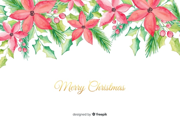 Watercolour merry christmas background