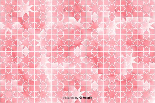 ピンクの色合いの水彩モザイクの背景