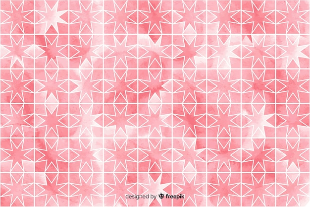 Watercolour mosaic background in pink shades