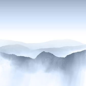 수채화 산 풍경