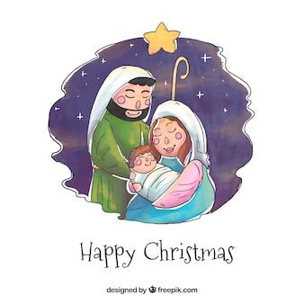 Акварельная сцена рождества