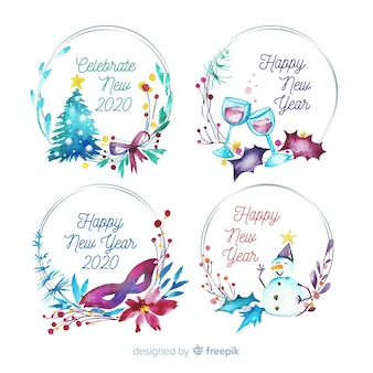 Watercolour new year 2020 badge collection