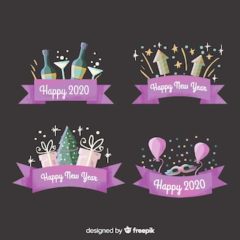 Watercolour new year 2020 label and badge collection with purple ribbon