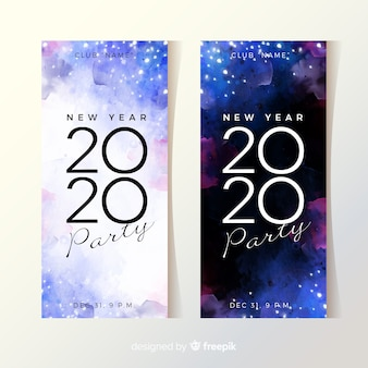 Watercolour new year 2020 party banners