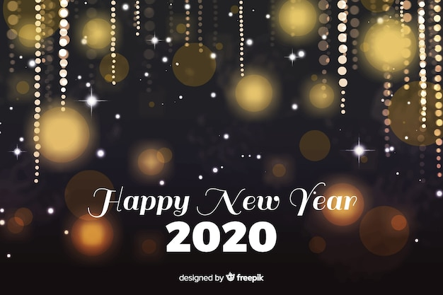 Watercolour new year 2020 with golden sparkles