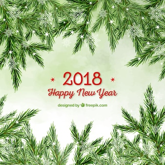 Watercolour new year background with a frame out of christmas tree branches