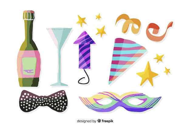 Watercolour new year party element collection on white background