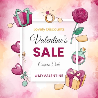 Watercolour objects valentine's day sale banner