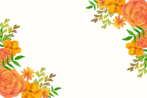 Watercolour orange floral spring background frame with copy space
