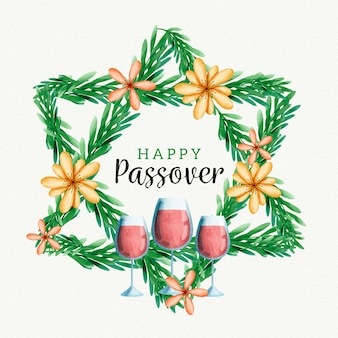 Watercolour passover and glasses of wine