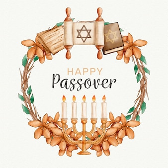 Watercolour passover with candles and golden leaves