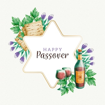 Акварельная пасха с цветами и вином