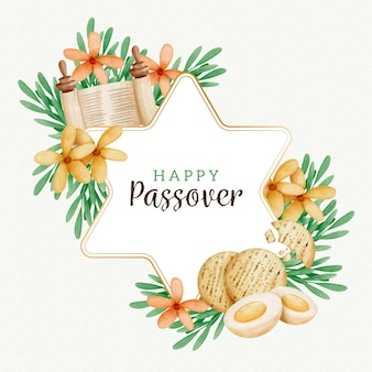 Watercolour passover with flowers and eggs