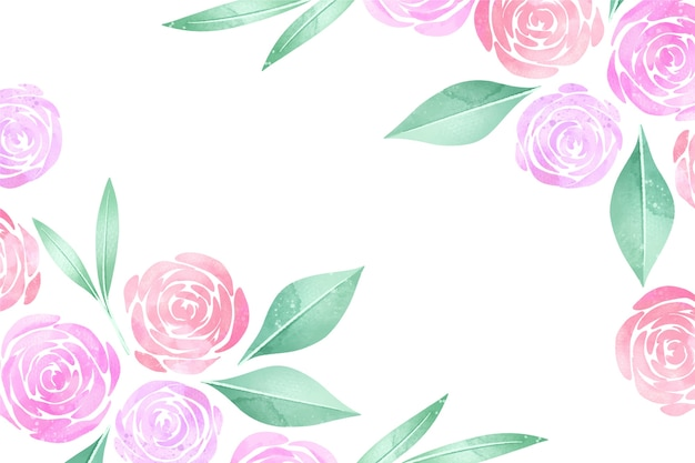 Watercolour pastel-coloured roses floral background