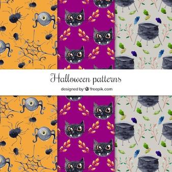 할로윈 수채화 패턴