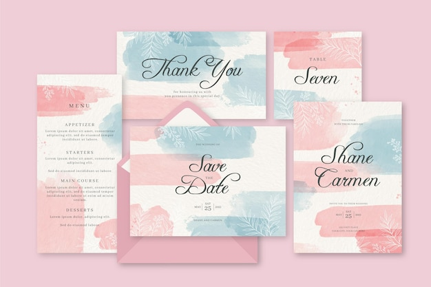 Watercolour pink and blue wedding stationery invitation