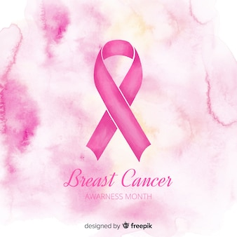 Watercolour pink ribbon for breast cancer awareness symbol