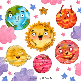 Watercolour planet collection with faces