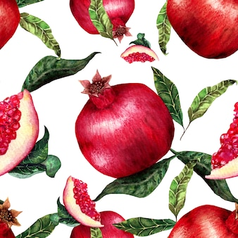 Watercolour pomegranate seamless pattern