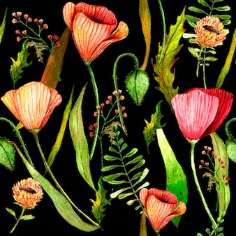 Watercolour poppies meadow seamless pattern