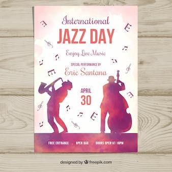 国際ジャズデーのための水彩ポスター