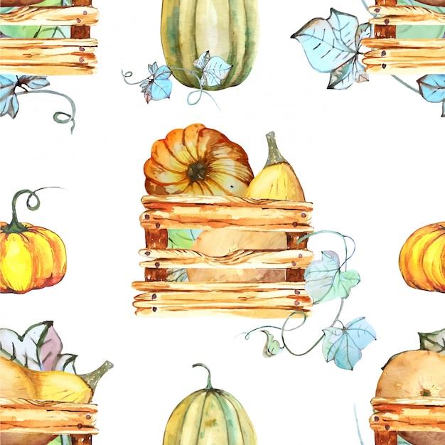 Watercolour pumpkin seamless pattern