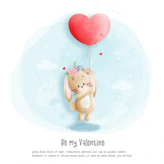 수채화 토끼 그림, 내 발렌타인이 될