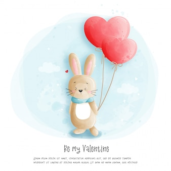 Watercolour rabbit  illustration, be my valentine