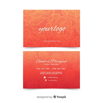 Watercolour red floral business card template