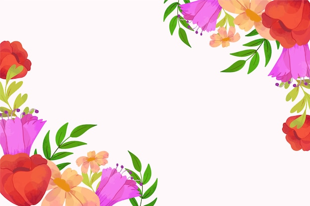 Watercolour roses spring background frame with copy space
